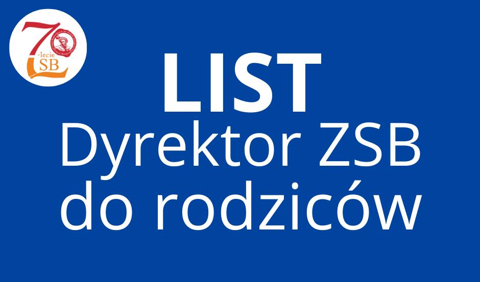 List Dyrektora ZSB w Brzegu do Rodziców